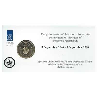 1994 £2 BU Coin (Card) - Bank of England Tercentenary